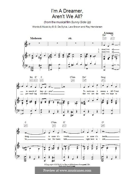 I'm a Dreamer, aren't We All?: Para vocais e piano (ou Guitarra) by Buddy Gard DeSylva, Ray Henderson, Lew Brown