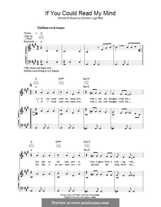 If You Could Read My Mind: Para vocais e piano (ou Guitarra) by Gordon Lightfoot