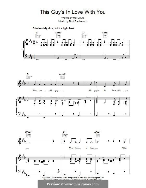 This Guy's in Love with You: Para vocais e piano (ou Guitarra) by Burt Bacharach