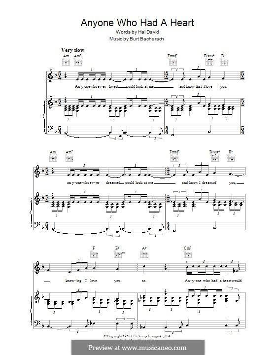 Anyone Who Had a Heart: Para vocais e piano (ou Guitarra) by Burt Bacharach