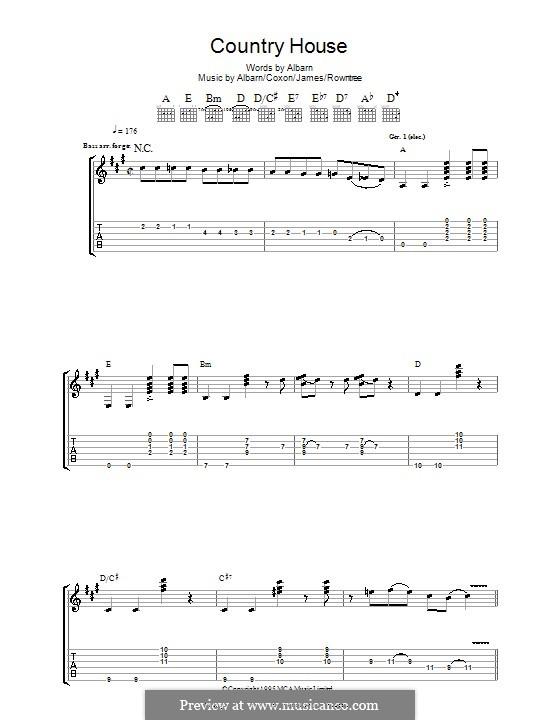 Country House (Blur): Para guitarra com guia by Alex James, Damon Albarn, David Rowntree, Graham Coxon
