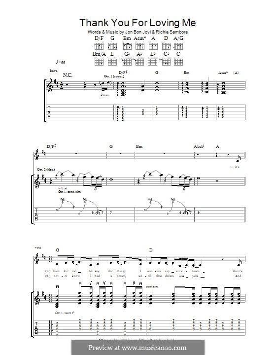 Thank You for Loving Me (Bon Jovi): Para guitarra com guia by Jon Bon Jovi, Richie Sambora