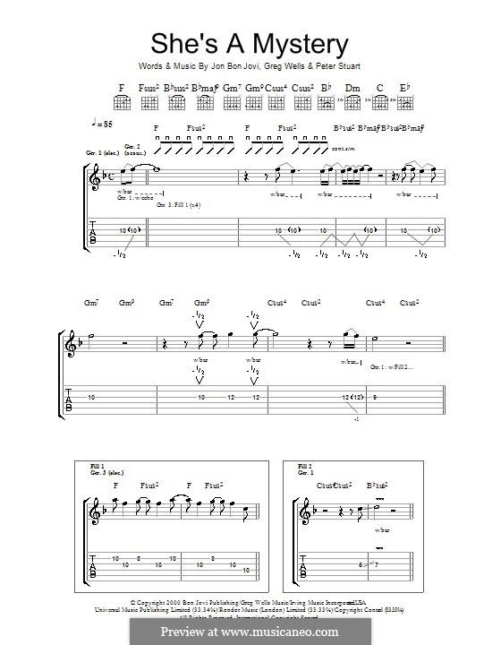 She's a Mystery (Bon Jovi): Para guitarra com guia by Greg Wells, Jon Bon Jovi, Peter Stuart