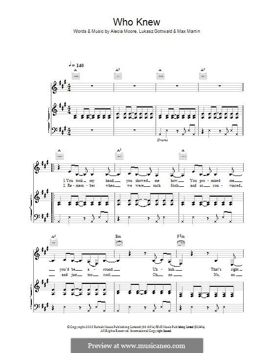 Who Knew (Pink): Para vocais e piano (ou Guitarra) by Alecia Moore, Lukas Gottwald, Max Martin