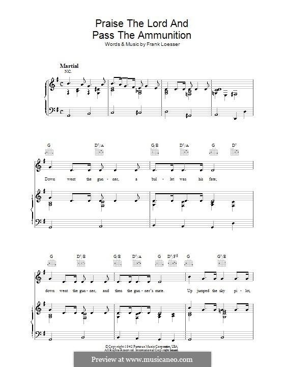 Praise the Lord and Pass the Ammunition: Para vocais e piano (ou Guitarra) by Frank Loesser