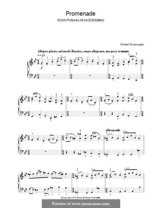 Promenade I: versão facil para piano by Modest Mussorgsky