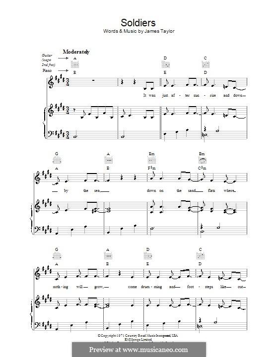 Soldiers: Para vocais e piano (ou Guitarra) by James Taylor