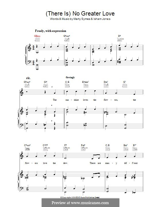 There Is No Greater Love: Para vocais e piano (ou Guitarra) by Marty Symes