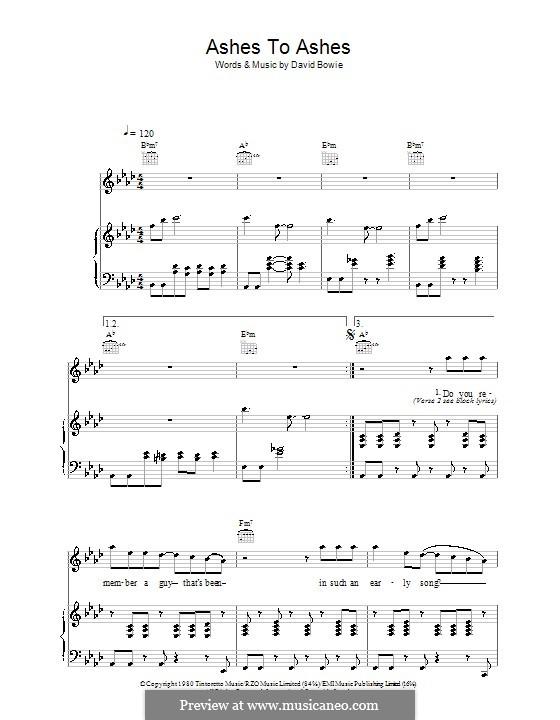 Ashes to Ashes: Para vocais e piano (ou Guitarra) by David Bowie