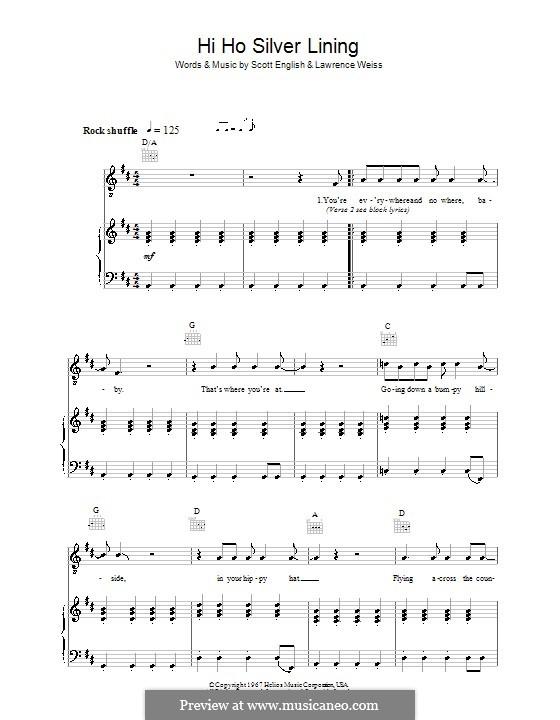 Hi Ho Silver Lining (Jeff Beck): Para vocais e piano (ou Guitarra) by Lawrence Weiss, Scott English