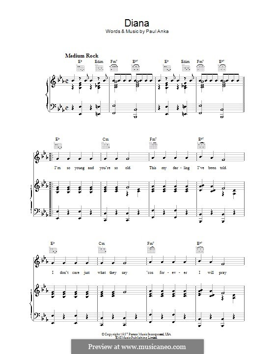 Diana: Para vocais e piano (ou Guitarra) by Paul Anka
