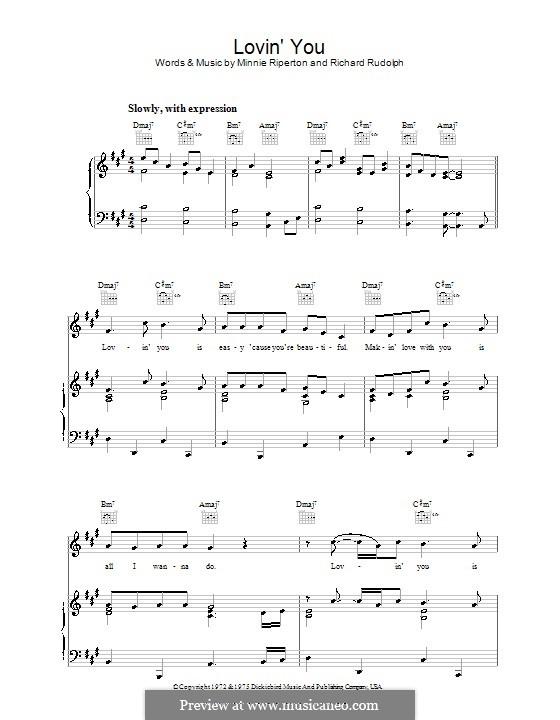 Lovin' You: Para vocais e piano (ou Guitarra) by Minnie Riperton, Richard Rudolph