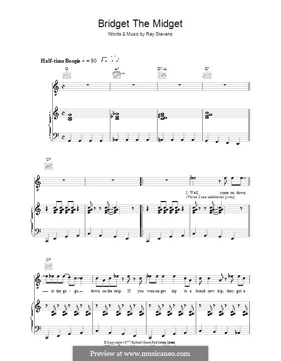 Bridget the Midget: Para vocais e piano (ou Guitarra) by Ray Stevens