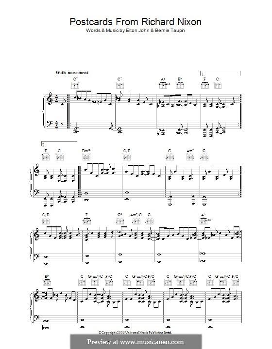Postcards from Richard Nixon: Para vocais e piano (ou Guitarra) by Elton John