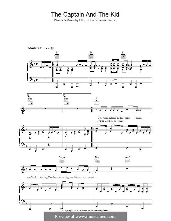 The Captain and The Kid: Para vocais e piano (ou Guitarra) by Elton John