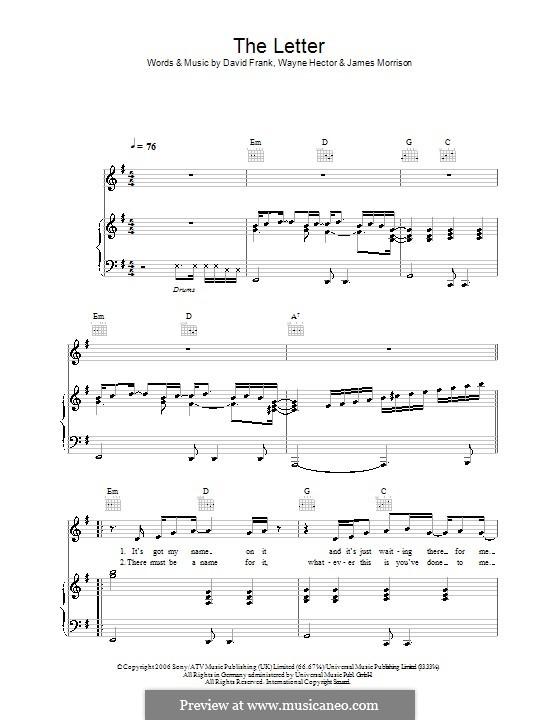 The Letter (James Morrison): Para vocais e piano (ou Guitarra) by David Frank, Wayne Anthony Hector