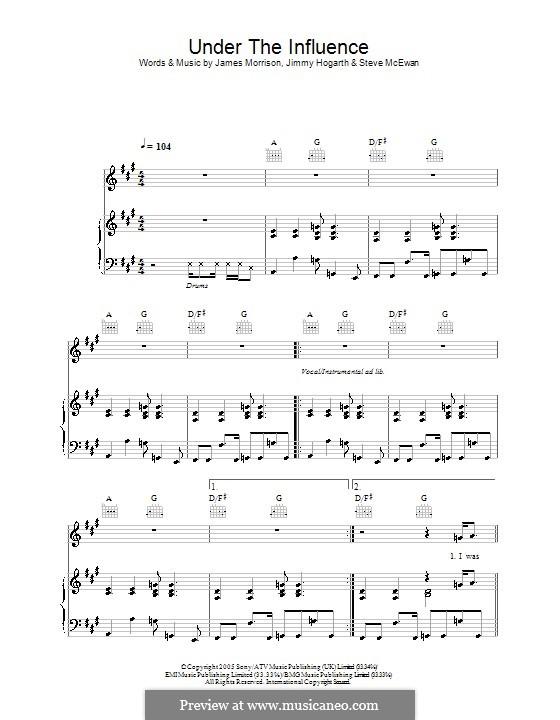 Under the Influence (James Morrison): Para vocais e piano (ou Guitarra) by Jimmy Hogarth, Steve McEwan