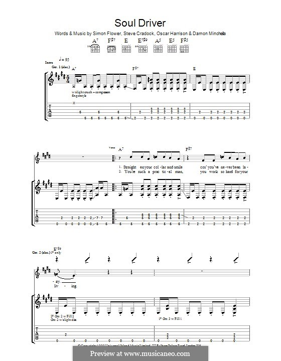 Soul Driver (Ocean Colour Scene): Para guitarra com guia by Damon Minchella, Oscar Harrison, Simon Fowler, Steve Cradock