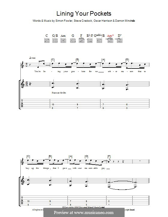 Lining Your Pockets (Ocean Colour Scene): Para guitarra com guia by Damon Minchella, Oscar Harrison, Simon Fowler, Steve Cradock