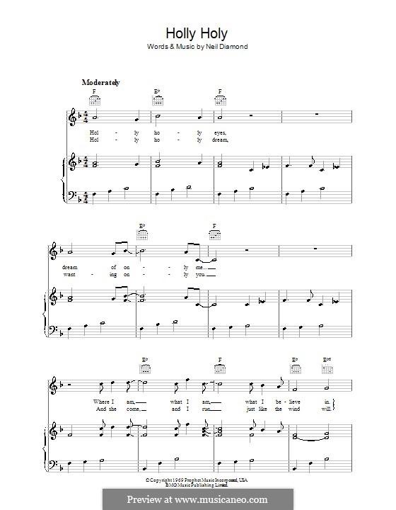 Holly Holy: Para vocais e piano (ou Guitarra) by Neil Diamond