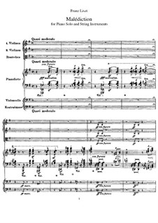 Malédiction, S.121: For piano solo and string instruments by Franz Liszt
