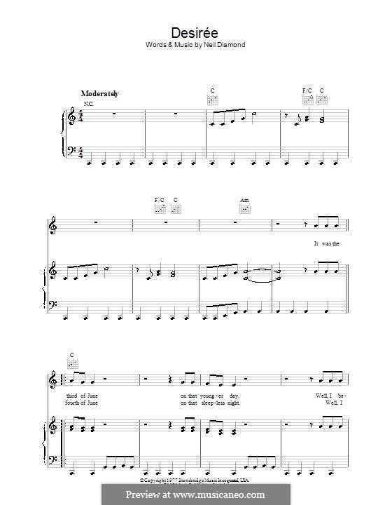 Desiree: Para vocais e piano (ou Guitarra) by Neil Diamond