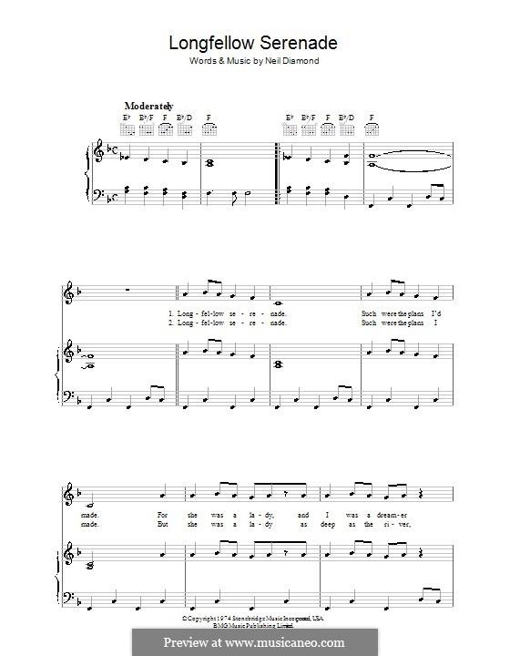 Longfellow Serenade: Para vocais e piano (ou Guitarra) by Neil Diamond
