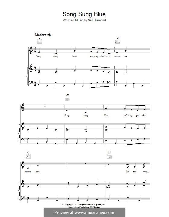 Song Sung Blue: Para vocais e piano (ou Guitarra) by Neil Diamond