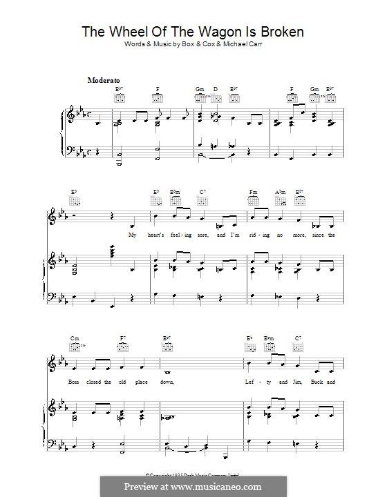 The Wheel of the Wagon Is Broken: Para vocais e piano (ou Guitarra) by Desmond Cox, Michael Carr