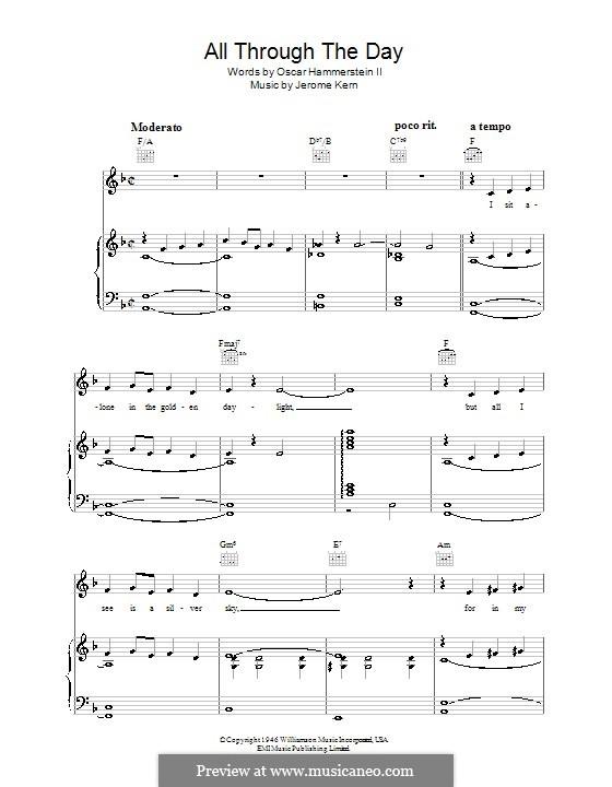 All Through the Day: Para vocais e piano (ou Guitarra) by Jerome Kern