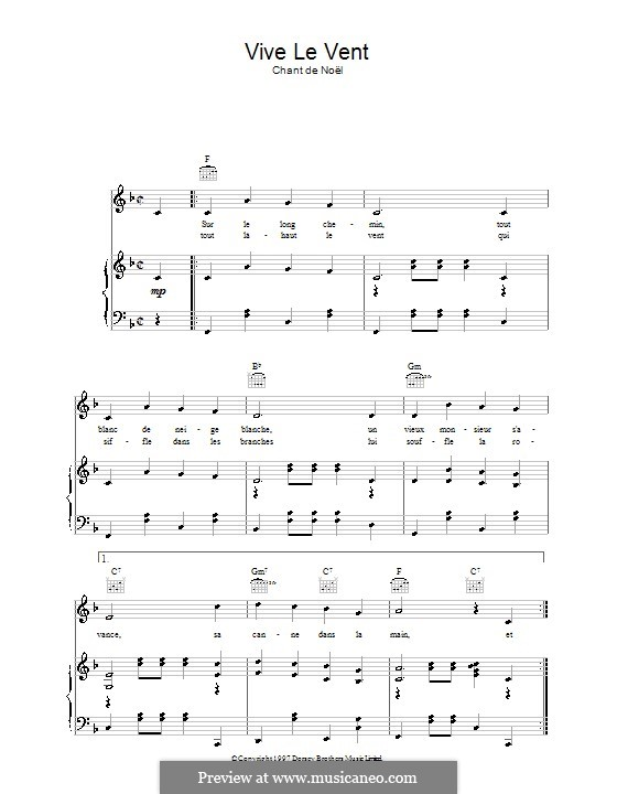 Vive le vent: Para vocais e piano (ou Guitarra) by folklore