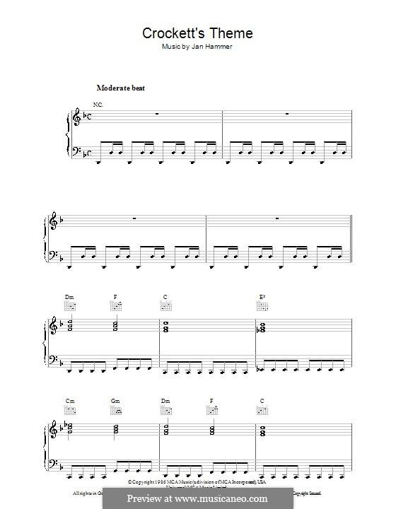 Crockett's Theme (from Miami Vice): Para Piano by Jan Hammer