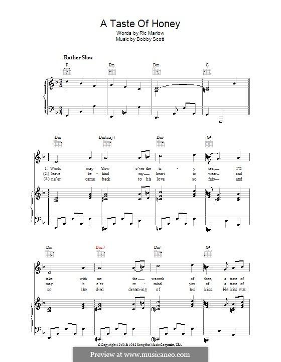 A Taste of Honey (Barbra Streisand): Para vocais e piano (ou Guitarra) by Bobby Scott