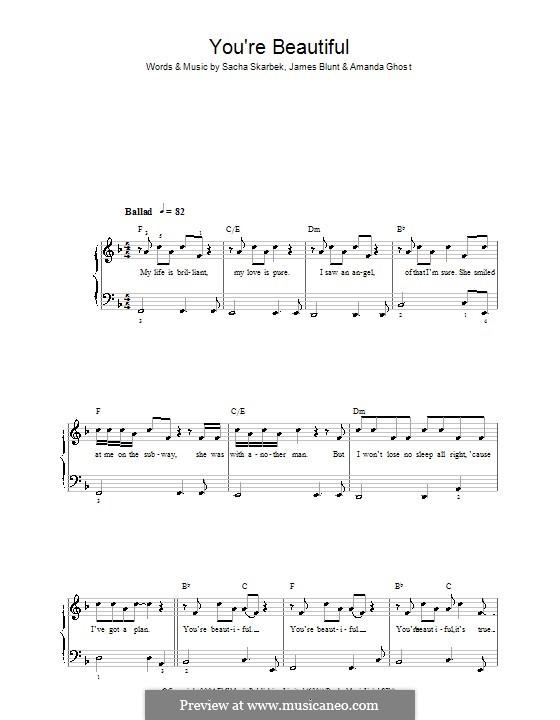 You're Beautiful: Facil para o piano by Amanda Ghost, James Blunt, Sacha Skarbek
