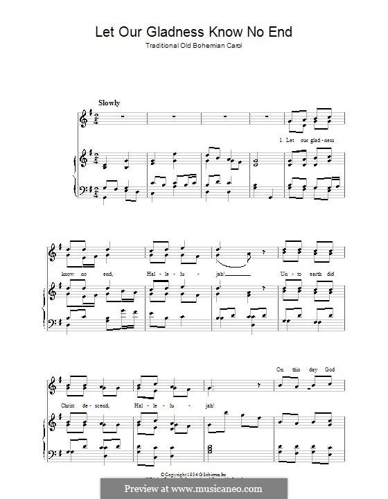 Let Our Gladness Know No End: Para vocais e piano by folklore