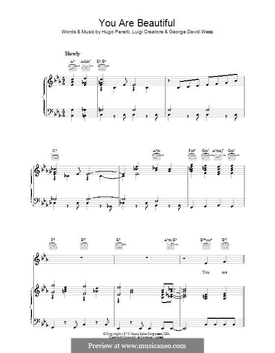 You Are Beautiful (Hugo Peretti): Para vocais e piano (ou Guitarra) by George David Weiss, Luigi Creatore