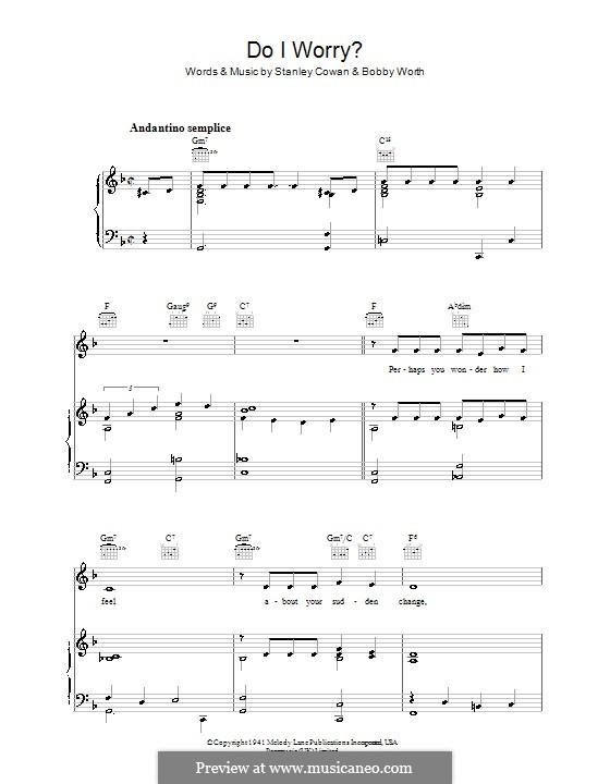Do I Worry: Para vocais e piano (ou Guitarra) by Bobby Worth