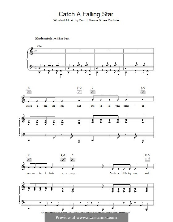 Catch a Falling Star (Perry Como): Para vocais e piano (ou Guitarra) by Lee Pockriss, Paul J. Vance