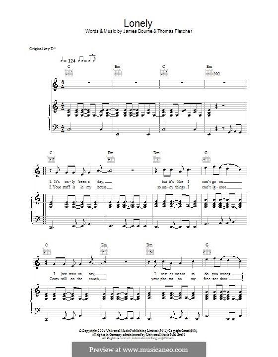 Lonely (McFly): Para vocais e piano (ou Guitarra) by Tom Fletcher, James Bourne