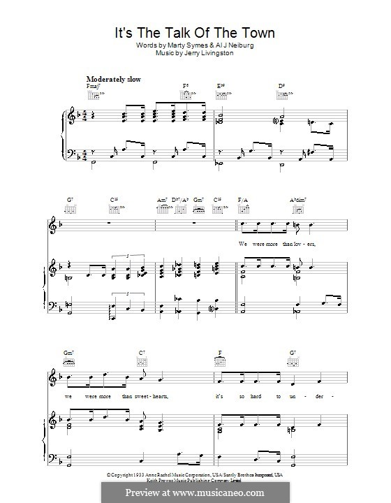 It's the Talk of the Town: Para vocais e piano (ou Guitarra) by Al J. Neiburg, Marty Symes