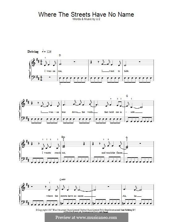 Where the Streets Have no Name: Facil para o piano by U2
