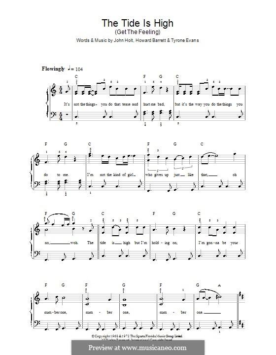 The Tide is High (Blondie): Facil para o piano by Howard Barrett, John Holt, Tyrone Evans