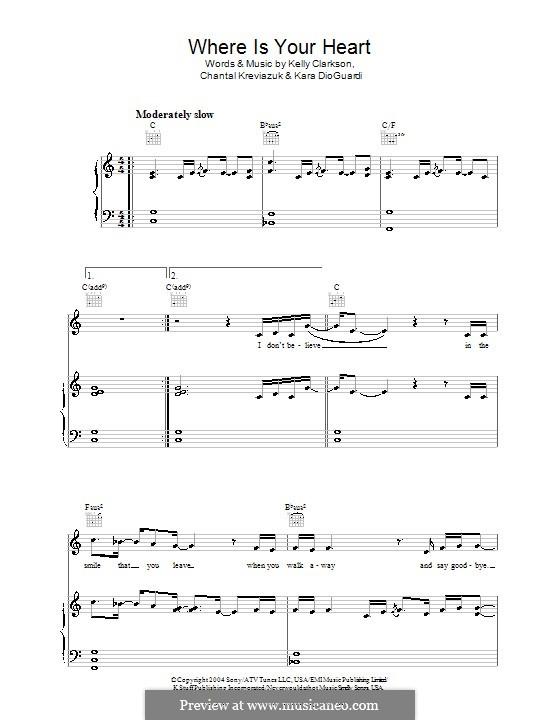 Where Is Your Heart (Kelly Clarkson): Para vocais e piano (ou Guitarra) by Chantal Kreviazuk, Kara DioGuardi