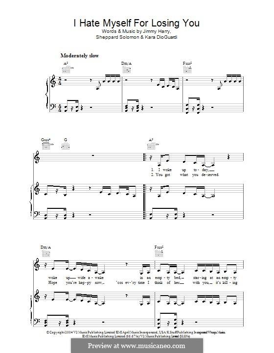 I Hate Myself for Losing You (Kelly Clarkson): Para vocais e piano (ou Guitarra) by Jimmy Harry, Kara DioGuardi, Sheppard Solomon