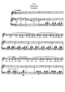 Verlassen, S.336: Partitura piano-vocal by Franz Liszt
