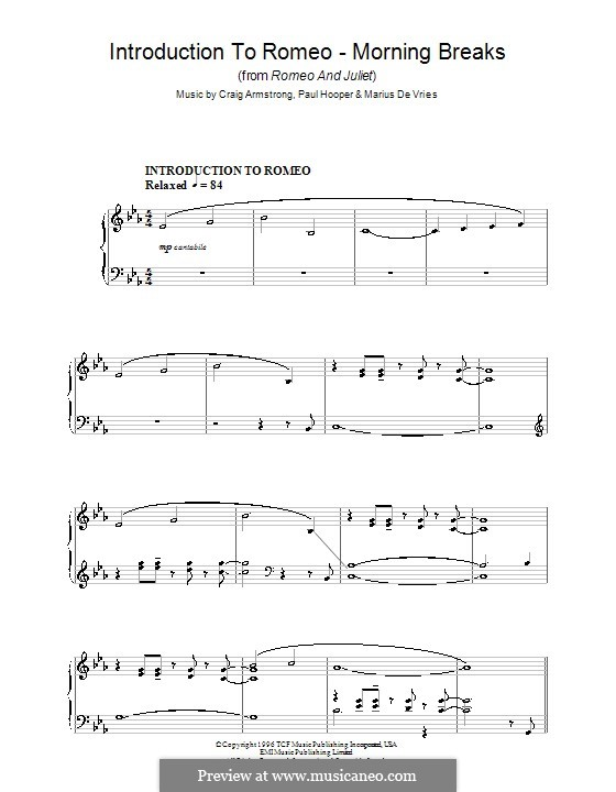 Introduction to Romeo - Morning Breaks (from Romeo and Juliet): Para Piano by Marius De Vries, Paul Hooper