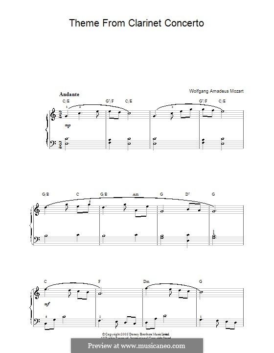 Concerto for Clarinet and Orchestra in A Major, K.622: Adagio. Version for easy piano by Wolfgang Amadeus Mozart
