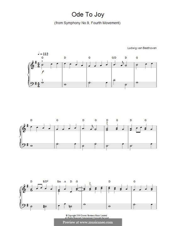 Ode to Joy, for Piano: Version for easy piano with chords by Ludwig van Beethoven
