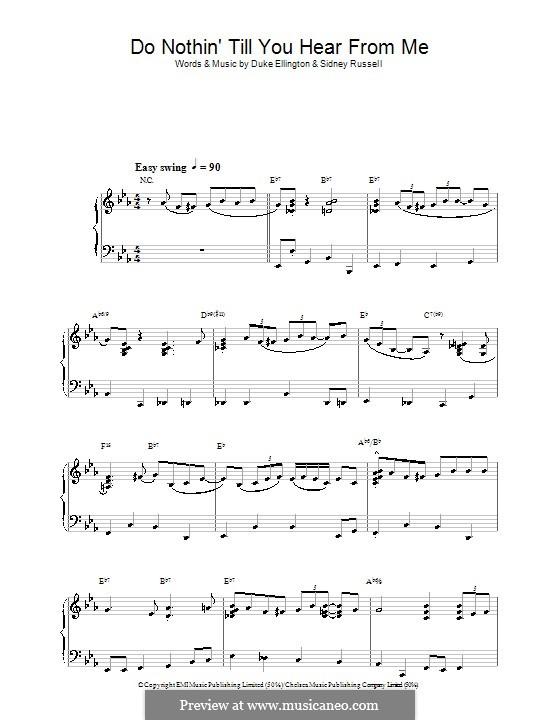 Do Nothin' Till You Hear from Me: Para Piano by Duke Ellington