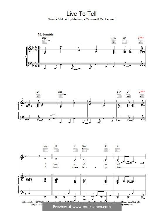 Live to Tell: Para vocais e piano (ou Guitarra) by Madonna, Patrick Leonard
